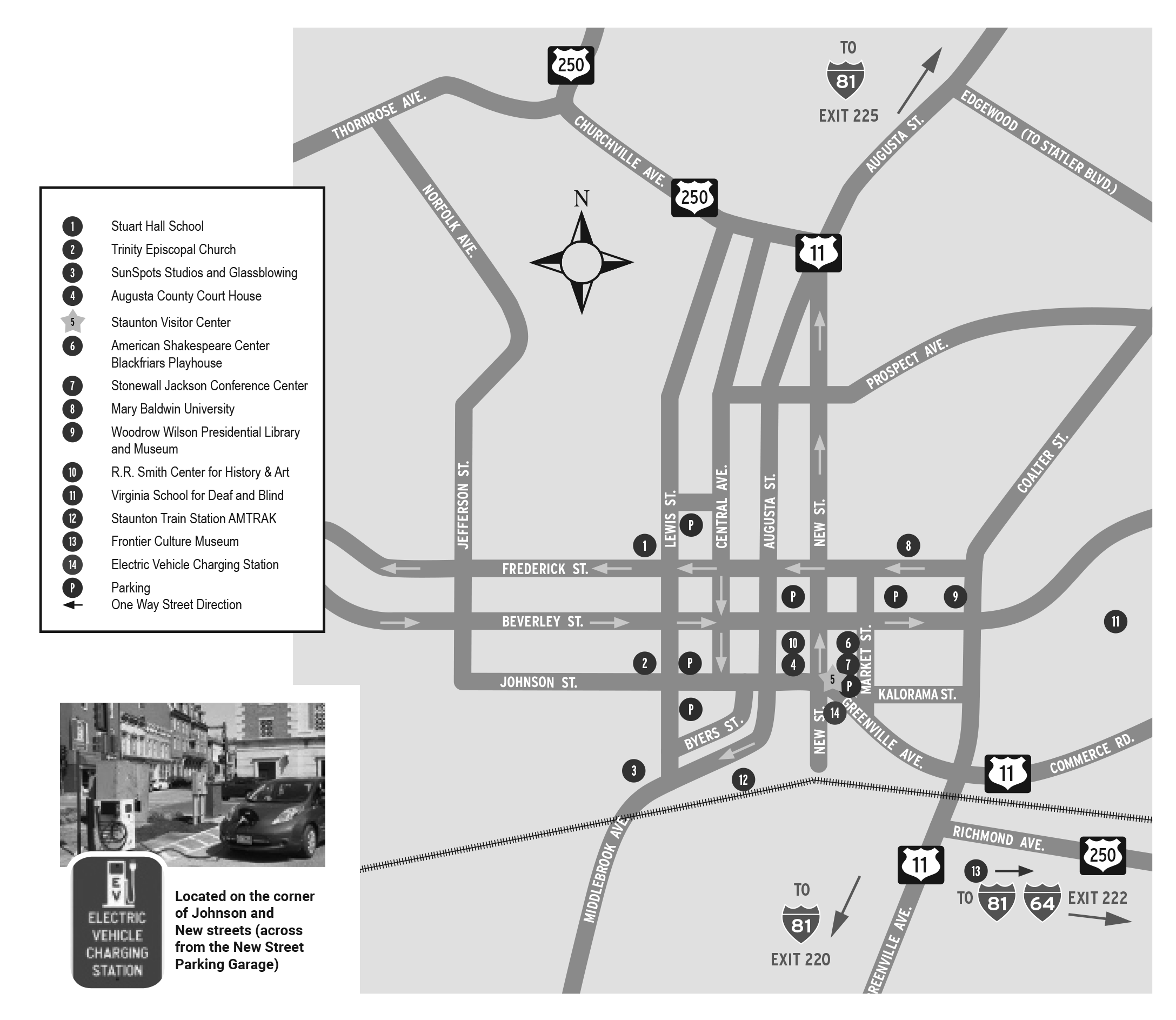 Map of downtown Staunton