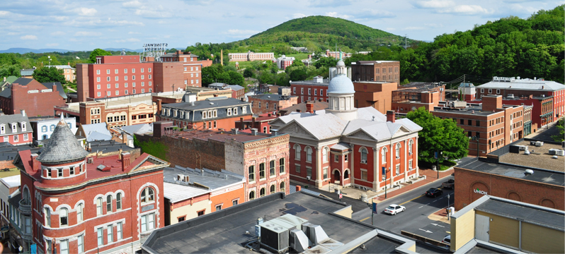 Aerial view of Staunton's downtown