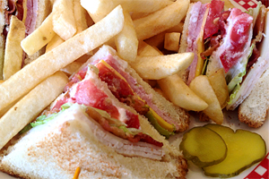 A club sandwich at Kathy's