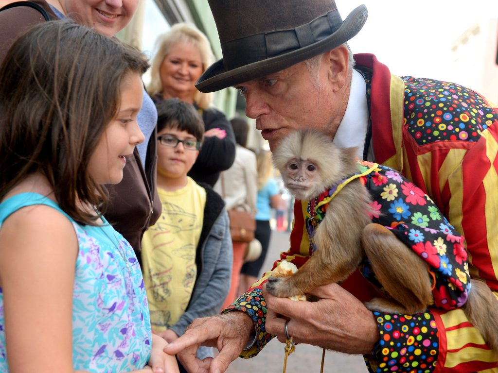 Bella Skaggs, 8, of Waynesboro looks to monkey Django. She listens to street performer Jerry Brown while at the 'P.A.C.'n the Streets' celebration on East Beverley Street in downtown Staunton on Saturday, Sept. 14, 2013. Sponsored by the Staunton Performing Art Center Experience (S.P.A.C.E.), the celebrates the 100th birthday of The New Theatre.