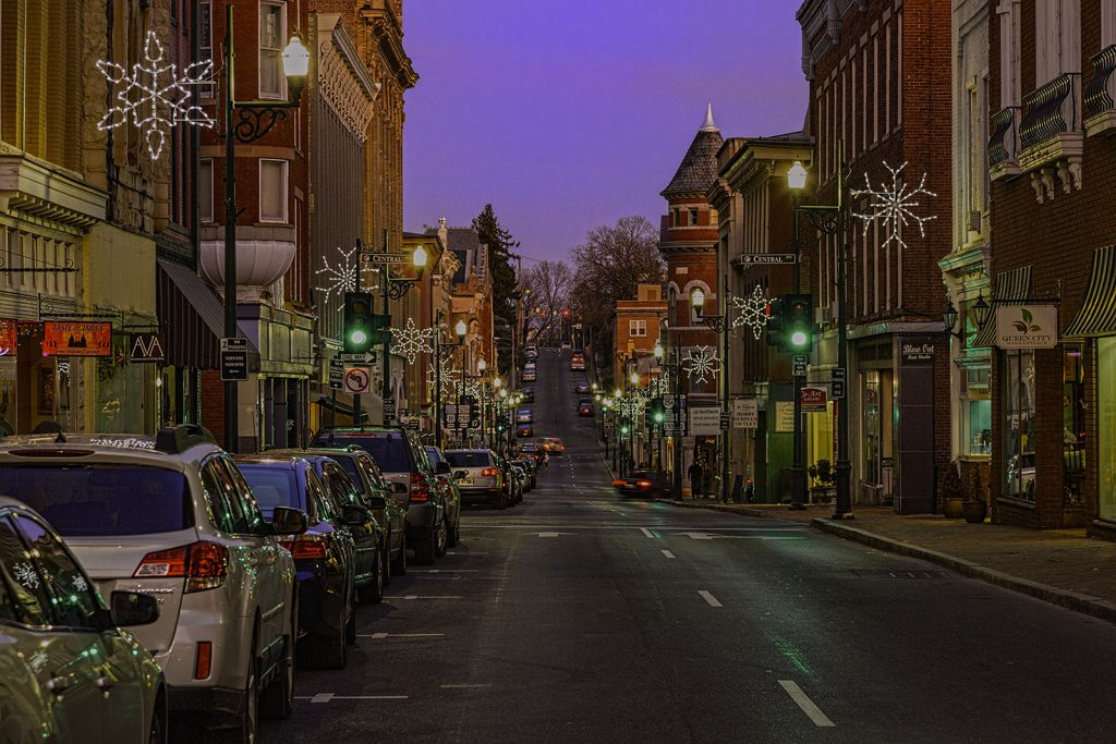 Beverley Street decorated for the holidays.